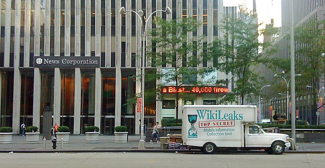 From commons.wikimedia.org: Wikileaks truck at Fox News {MID-155484}