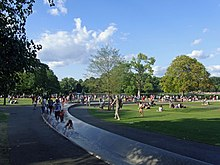 Photograph of people at Hyde Park.
