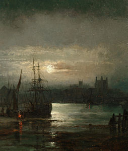 William Anslow Thornley - A moonlit harbour scene.jpg