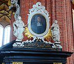 Wismar, St. Nikolai, Kanzelaufgang. Bekrönung.JPG