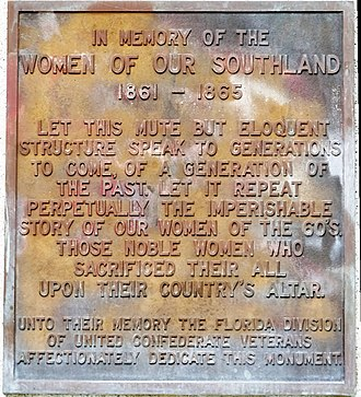 Florida's Tribute to the Women of the Confederacy - Plaque