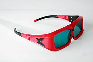 Stereo display - A pair of LCD shutter glasses used to view XpanD 3D films. The thick frames conceal the electronics and batteries.