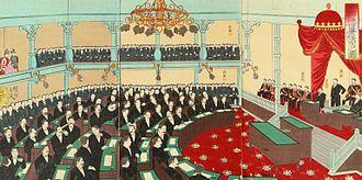 House of Peers (Japan) - Emperor Meiji in a formal session of the House of Peers. Ukiyo-e woodblock print by Yōshū Chikanobu, 1890