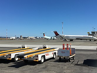Victoria International Airport - Delta Connection (Skywest), Air Canada Express (Jazz), United Express (Skywest) and Pacific Coastal Airlines aircraft parked at Victoria International Airport in August 2017.