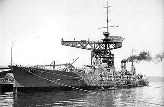 Japanese battleship Yamashiro - Yamashiro testing her torpedo nets at Yokosuka in 1917