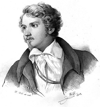Justus von Liebig - The young Liebig: 1843 lithograph after an 1821 painting (Liebighaus)