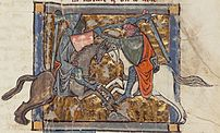 Gawain unwittingly fights Ywain, from Chrétien...
