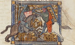 Ywain - Yvain unwittingly battles Gawain, from Chrétien's Yvain, the Knight of the Lion