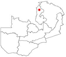 Location of Kawambwa in Zambia