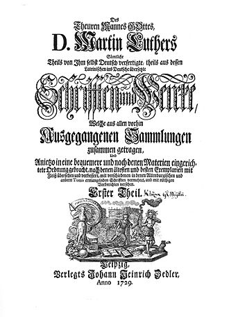 Johann Heinrich Zedler - Zedler's first major publishing project: The dear man of God, Martin Luther. Title page of the first volume, Leipzig 1729.