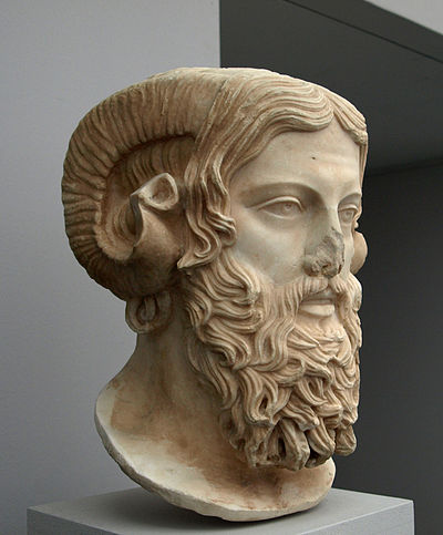 Bust of Zeus-Ammon, a deity with attributes from Greek and Egyptian gods. Zeus Ammon (Antikensammlung Munchen).jpg