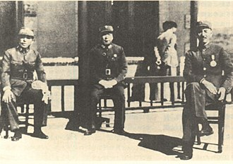 Xi'an Incident - The three principals involved in the Xi'an Incident: Zhang Xueliang, Yang Hucheng, and Chiang Kai-shek