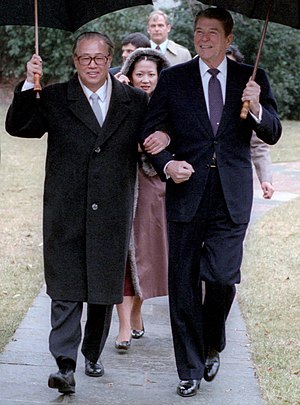 Zhao Ziyang - President Reagan walking with Zhao during his visit to the White House on 10 January 1984.