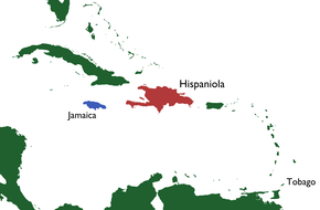Map of the Caribbean, showing Tobago, Hispaniola and Jamaica