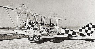 "Charles Lindbergh - ""Daredevil Lindbergh"" in a re-engined Standard J-1, the plane in this photo often misidentified as a Curtiss ""Jenny"", probably 1925"