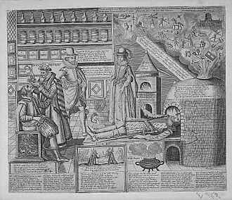 """Martin Droeshout - """"Doctor Panurgus"""" curing the folly of his patients"""