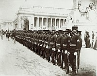 """Filipino Soldiers."" (Philippine Scouts on parade in front of the Louisiana Purchase Monument at the 1904 World's Fair).jpg"