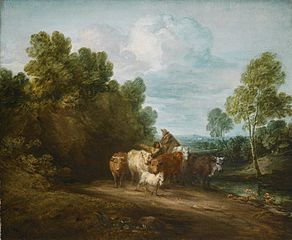 Wooded Rocky Landscape with Mounted Peasant, Drover and Cattle, and Distant Building
