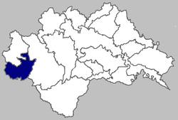 Location of Topusko commune within Sisak-Moslavina County