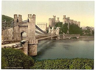 """Conwy - """"Castle and suspension bridge"""", ca. 1890 – 1900."""