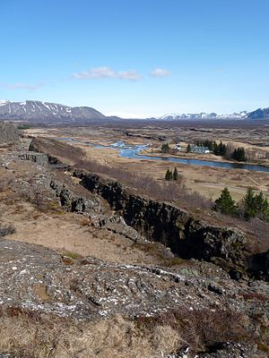 Mid-ocean ridge - Mid-ocean ridge in Þingvellir National Park, Iceland.