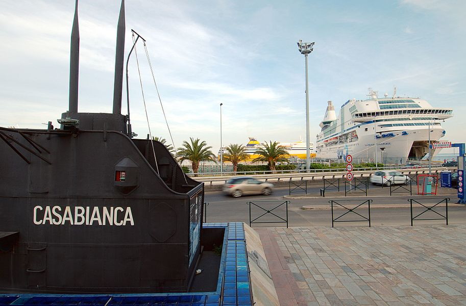 The port of Bastia, with the foreground, the kiosk of the French submarine Casabianca, which participated to the liberation of Corsica during WWII.