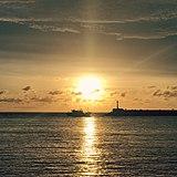安平港から眺める夕日が絶景