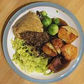 -2019-12-15 Steak and kidney pudding, cabbage, sprouts and roast potatoes, Trimingham, Norfolk (3).JPG