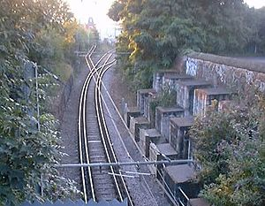 Tramlink - Interlaced track near Mitcham