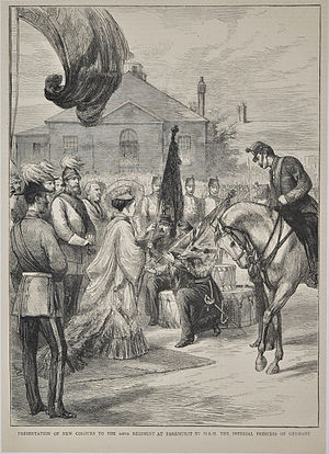 106th Regiment of Foot (Bombay Light Infantry) - A wood engraving from The Graphic magazine of the presentation of new Colours to the 106th Regiment of Foot in 1874.