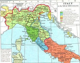Kingdom of Italy (Holy Roman Empire) - Imperial Italy (outlined in red) in the 12th and 13th centuries
