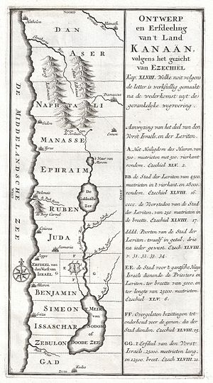 1729 Schryver Map of Israel showing 12 Tribes ...