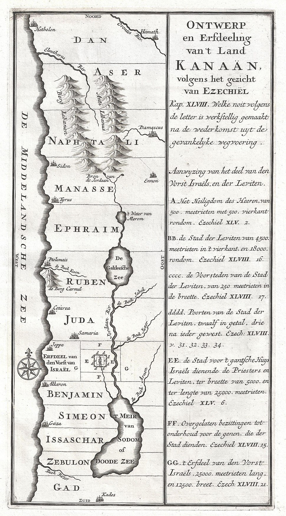 1729 Schryver Map of Israel showing 12 Tribes - Geographicus - Israel-schryver-1729