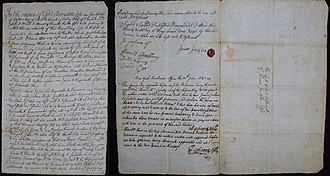 Goshen, New York - Last will and testament of pioneer Goshen resident, James Jackson dated May 29, 1740. From the collection of H. Blair Howell