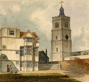 Church of St John-at-Hackney - c.1750 View of St Augustine's Tower showing the (then) adjacent Black and White House