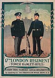 17th LONDON REGIMENT TOWER HAMLETS RIFLES c1930