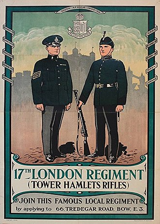 Tower division - Recruitment poster for the Tower Hamlets Rifles, c.1930