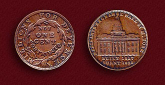 Hard times token - Image: 1837 Merchant's Exchange Hard Times Token HT 293