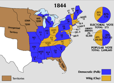 Results of the 1844 presidential election 1844 Electoral Map.png
