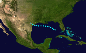 1874 Atlantic hurricane season - Image: 1874 Atlantic tropical storm 1 track