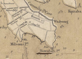 Street map of Kirribilli in 1875 showing many of the main streets