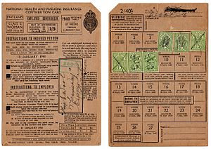 National Insurance - A 1940 contribution card for an employed woman.