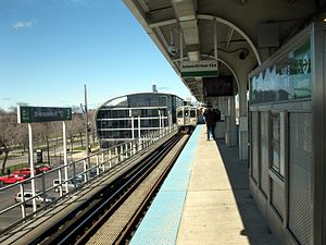35th–Bronzeville–IIT station - View northwest from the station, toward IIT's State Street Village.