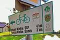 2012 Powiat cieszyński, Kończyce Małe, Ulica Staropolska, Znak szlaku rowerowego.jpg