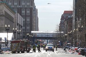 Boston Marathon bombing - Emergency services at work after the bombing