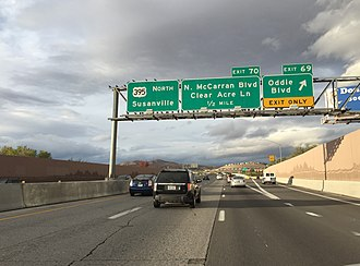 U.S. Route 395 in Nevada - View north along US 395 in Reno, just north of I-580's northern terminus