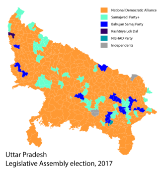 Uttar Pradesh Legislative Assembly election, 2017 - Image: 2017 Uttar Pradesh election result by alliance