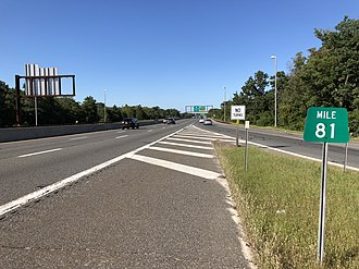 South Toms River, New Jersey - The northbound Garden State Parkway where it merges with northbound U.S. Route 9 in South Toms River