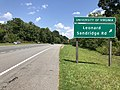 2019-08-08 14 00 22 View north along U.S. Route 29 and east along U.S. Route 250 (Charlottesville Bypass) at the exit for the University of Virginia and Leonard Sandridge Road in Canterbury Hills, Albemarle County, Virginia.jpg
