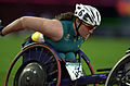 231000 - Athletics wheelchair racing 800m T54 final Louise Sauvage silver action 2 - 3b - 2000 Sydney race photo.jpg